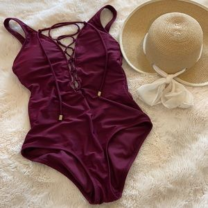 Medium mossimo maroon one piece bathing suit